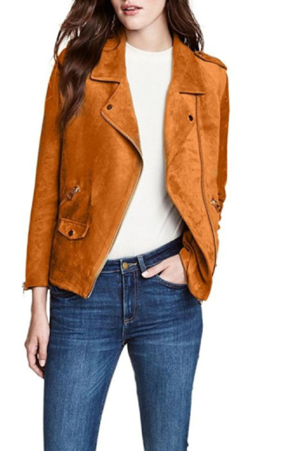 HaoDuoYi Faux Suede Moto Jacket