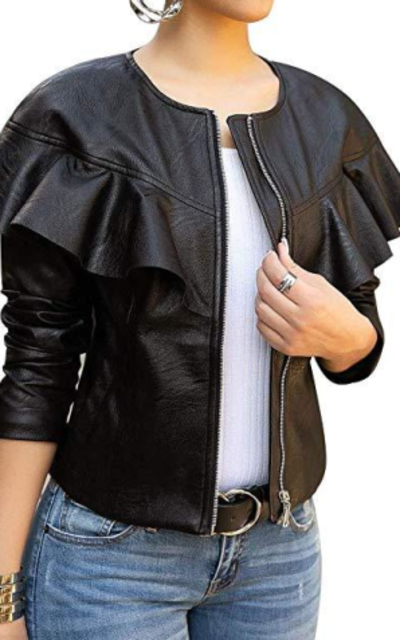 lovecarnation Ruffle Faux Leather Jacket