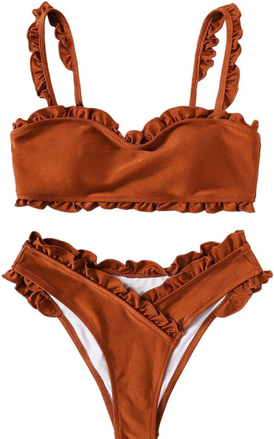 SweatyRocks Ruffle Wrap Bikini Set