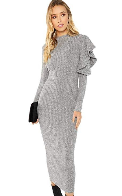 Floerns Knit Bodycon Midi Sweater Dress