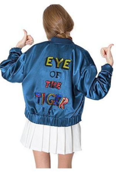 haoduoyi  Eye of the Tiger Sequin Satin Bomber