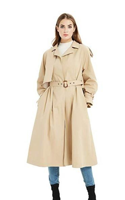 Tronjori Oversized Trench Coat with Belt