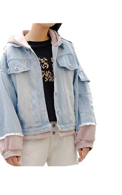 Smile-YZ Hooded Boyfriend Ripped Jean Jacket