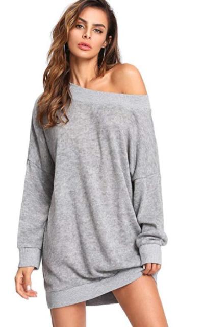 ROMWE Oversized Off Shoulder Knit Mini Sweater Dress