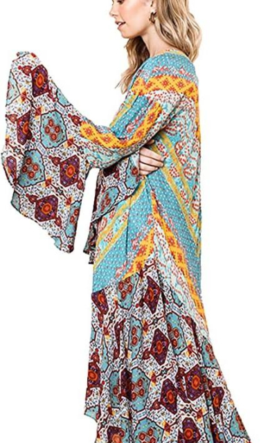 Umgee Ruffled Kimono with a Multicolored Print