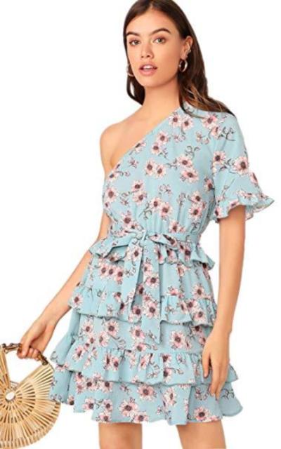Romwe One Shoulder Ruffle  Dress