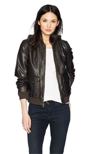 Levi's Two-Pocket Faux Leather Hooded Bomber Jacket