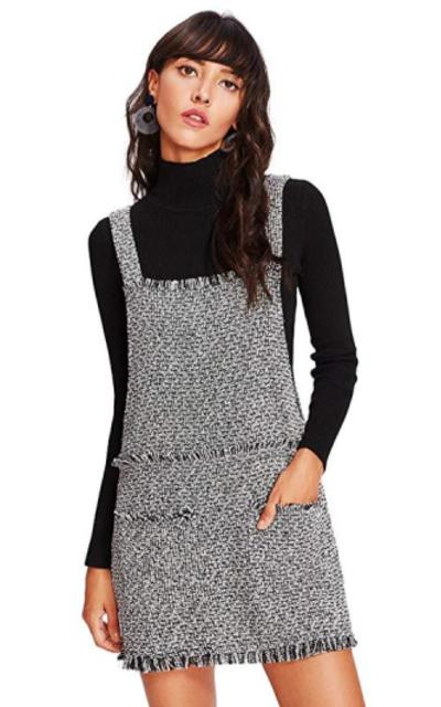 Romwe Tweed Pinafore Bib Pocket Overall Dress