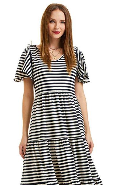 SONJA BETRO Stripe Knit Midi Dress
