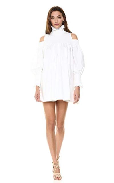 Elliatt Apparel Cold Shoulder Puff Sleeve Babydoll Turtleneck Dress