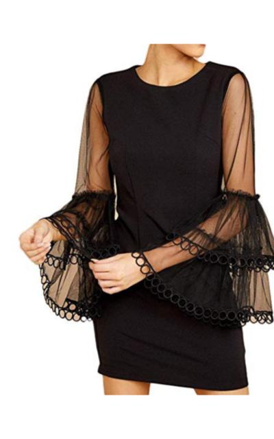 Mesh Bell Sleeve  Dress