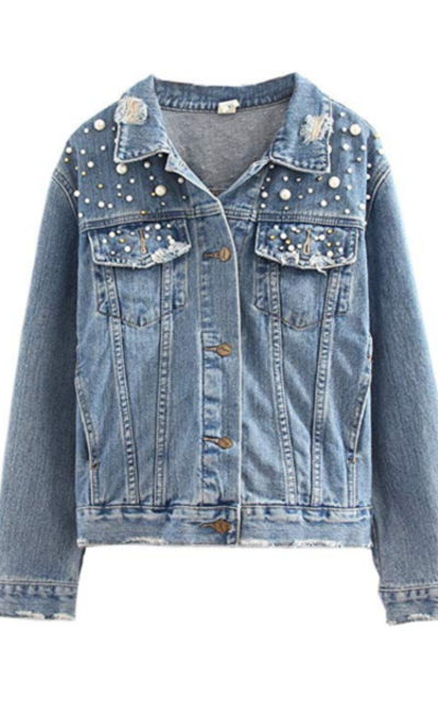 HOOBEE DENIM Oversized Distressed Denim Jacket with Pearls