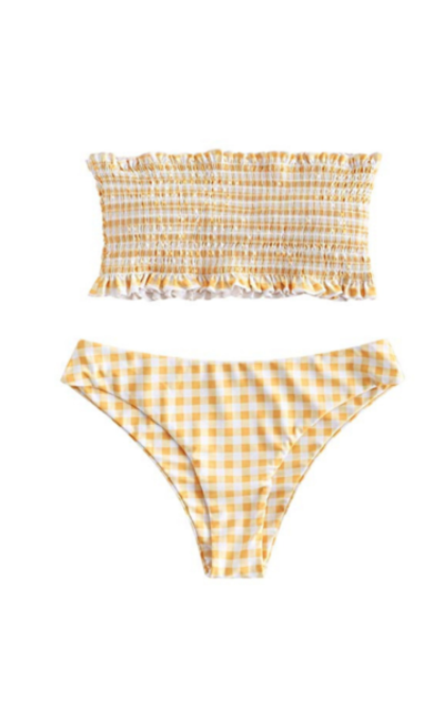 ZAFUL Gingham Frilled Shirred Bandeau Bikini Set