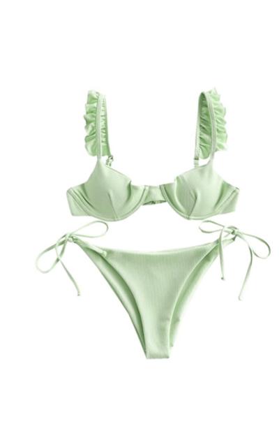 ZAFUL Push Up Balconette Tie Side String Bikini Set Swimsuit
