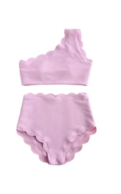 ZAFUL Swimsuit High Waisted Scalloped One Shoulder Bikini Set