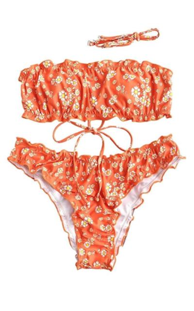 ZAFUL Daisy Print Lettuce Bandeau Bikini Set