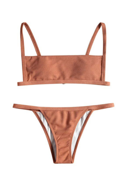 ZAFUL Ribbed Square Neck Padded Bikini Set
