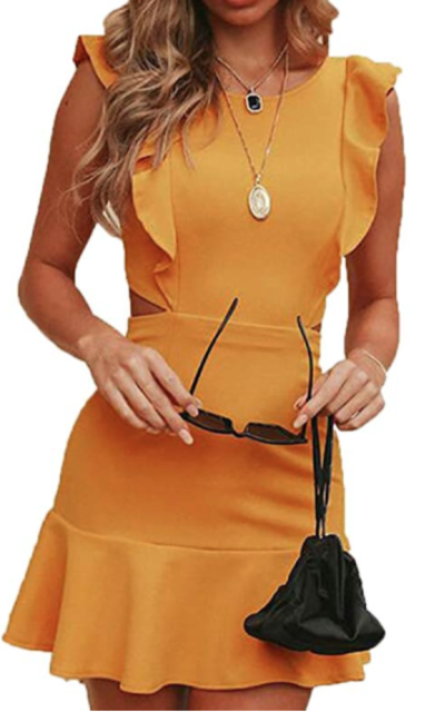 Jofemuho Backless Ruffle Cocktail Mini Dress