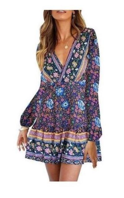 ZESICA Bohemian Floral Mini Dress