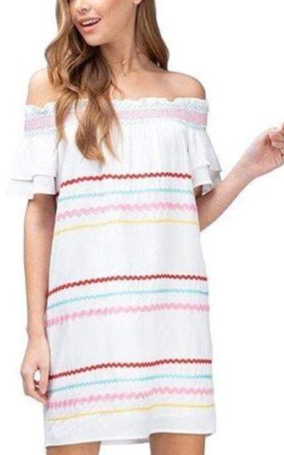 Ribbon Trim Off Shoulder Tiered Dress