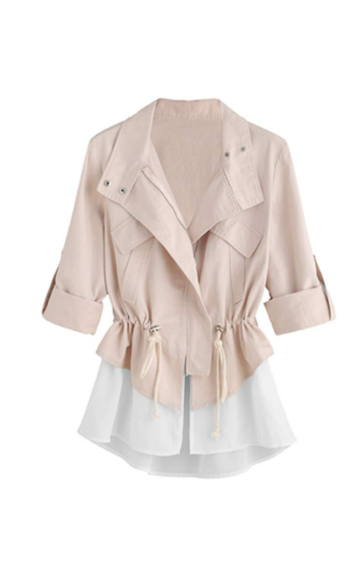Romwe Roll Sleeve Jacket with Drawstring Waist
