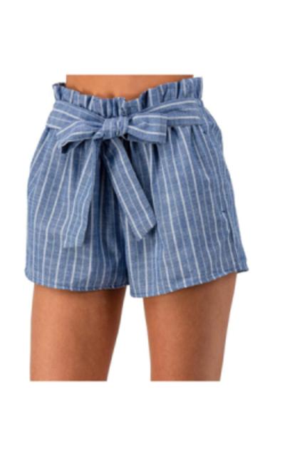 urbandaizy Elastic Waist Striped Beach Shorts