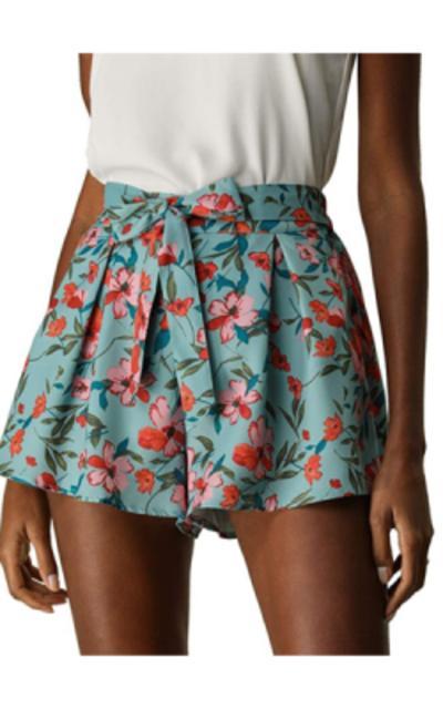 Allegra K Floral Print Elastic Shorts