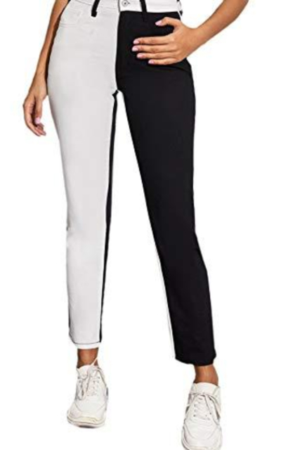 WDIRARA Colorblock Two Tone Skinny Jeans