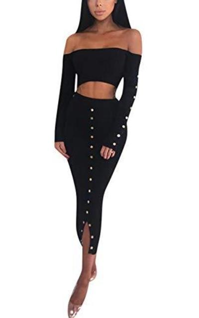 Rozegaga Off The Shoulder Long Sleeve Crop Top & Long Skirt Set