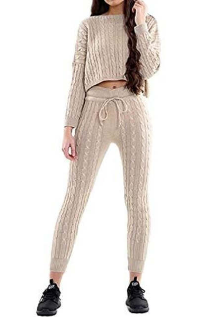 Chocolate Pickle Off Shoulder Cable Knitted Sweater Track Suit