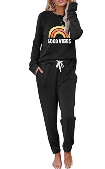 Eurivicy  Good Vibes Graphic 2 Piece Outfits Set