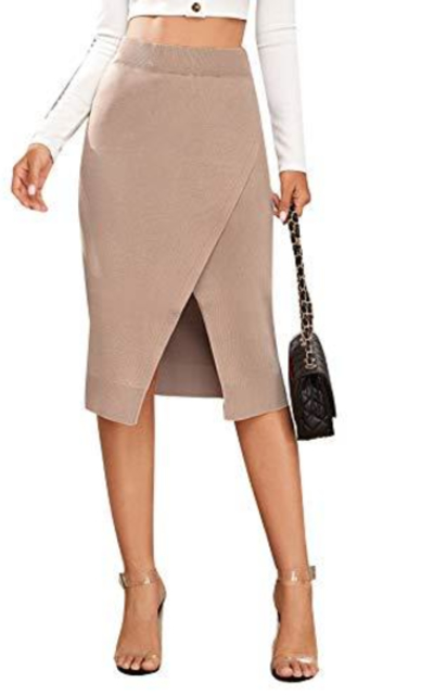 SweatyRocks Midi Knit Sweater Skirt
