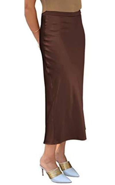 Baby'O Stretch Satin Bias Cut Midi Skirt