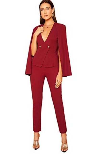 MAKEMECHIC Solid 2 Piece Double Breasted Cape Blazer and Tailored Pants Set