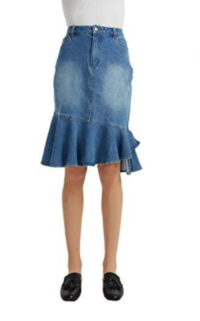 Tronjori Denim Fishtail Midi Skirt