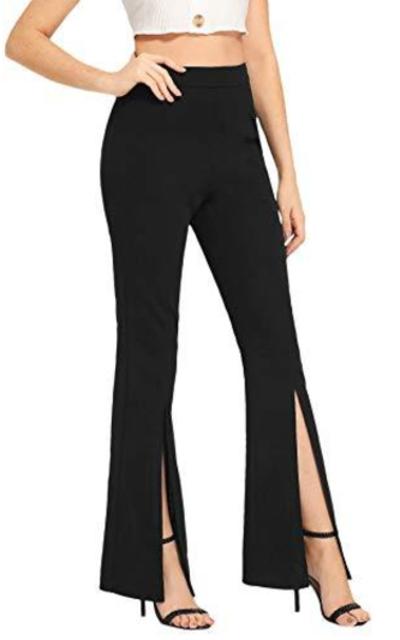 SOLY HUX Elegant Split Stretchy Mid Waist Flare Leg Pants