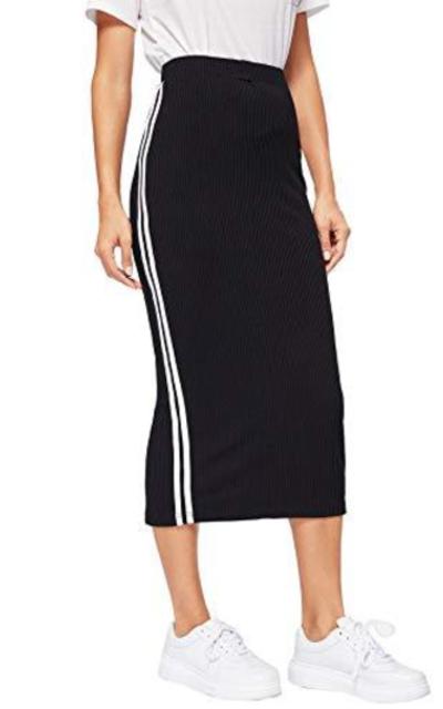 Verdusa Stripe Side Elastic Waist Rib-Knit Bodycon Skirt