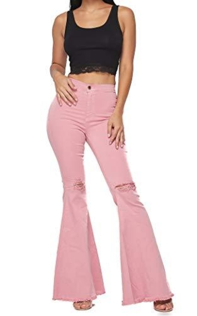 Vibrant Bell Bottom High Waist Jeans