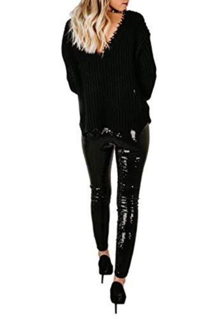 Joyfunear Black Sequin Leggings