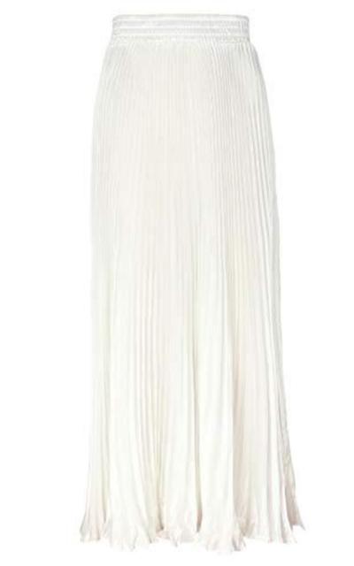 ebossy Elastic Waist Satin Metallic Pleated Long Swing Skirt