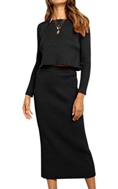 Miessial Long Sleeve 2 Piece Sweater Dress