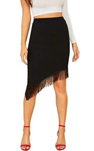 Verdusa Elastic Waist Asymmetric Fringe Hem Skirt