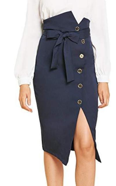 WDIRARA Asymmetrical Waist Button Belted Skirt