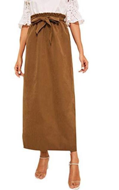 WDIRARA Self Tie Belted Solid Paper Bag Waist Maxi Skirt