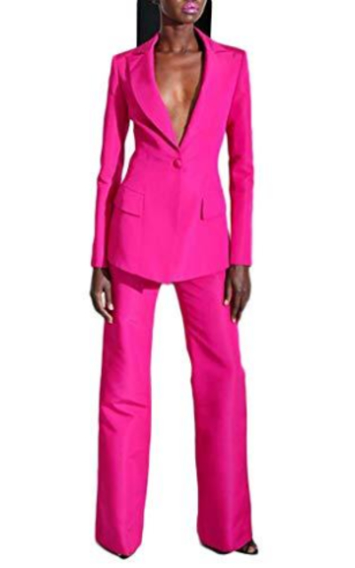 Peak Lapel Hot Pink Business Suit