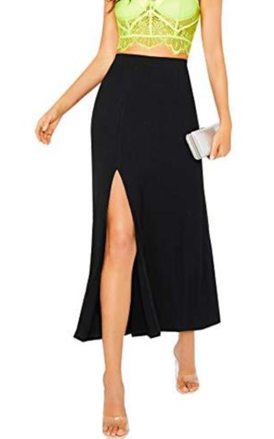 MAKEMECHIC Casual Rib Knit Split Maxi Skirt