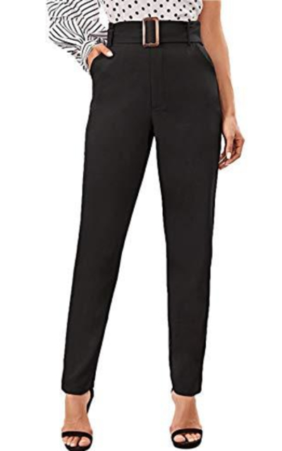 WDIRARA High Waist Buckle Pants