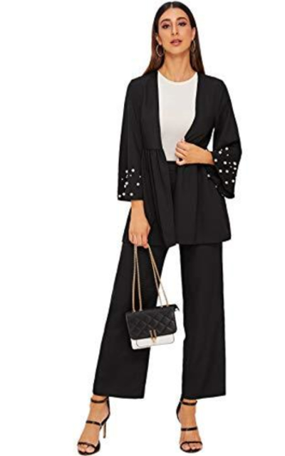 Verdusa Pearls Beaded Ruffle Coat & Wide Leg Pants Set