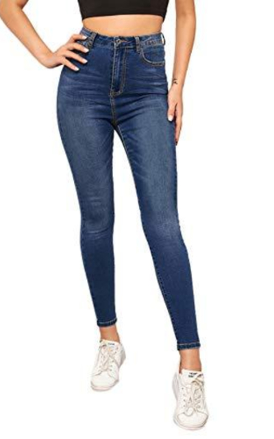 SweatyRocks Button High Rise Skinny Denim Jeans