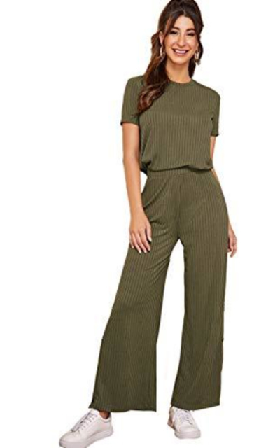 Milumia 2 Piece Solid Ribbed Knit Stretchy Short Sleeve Tops and Pants Set